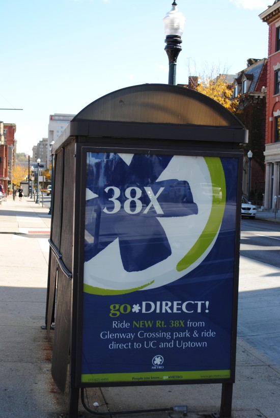 Bus shelter advert for the #38X