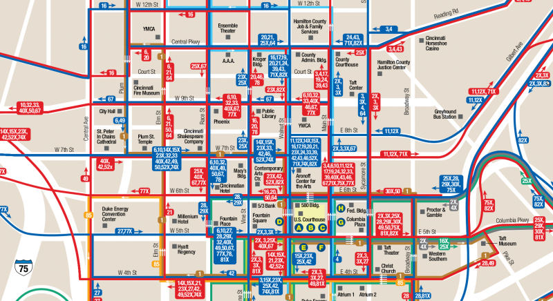 SORTA downtown transit map