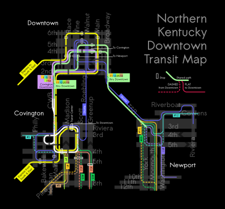 Northern Kentucky transit map of Downtown Covington and Newport