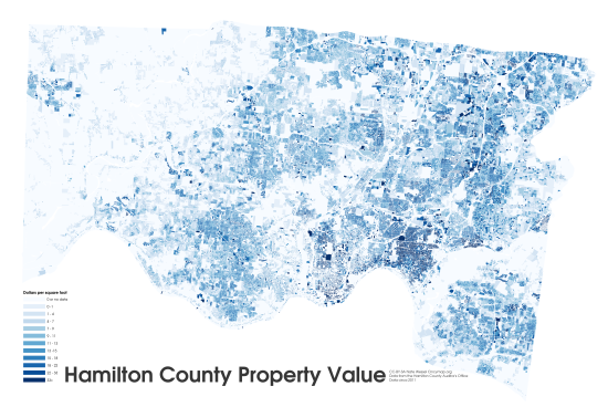 property value, including improvements, of Hamilton County Ohio in dollars per square feet