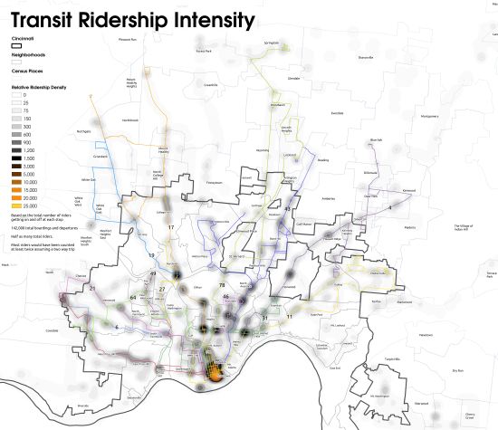Cincinnati 2008 transit ridership density