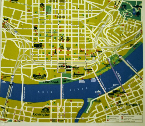 Downtown Cincinnati guidebook map
