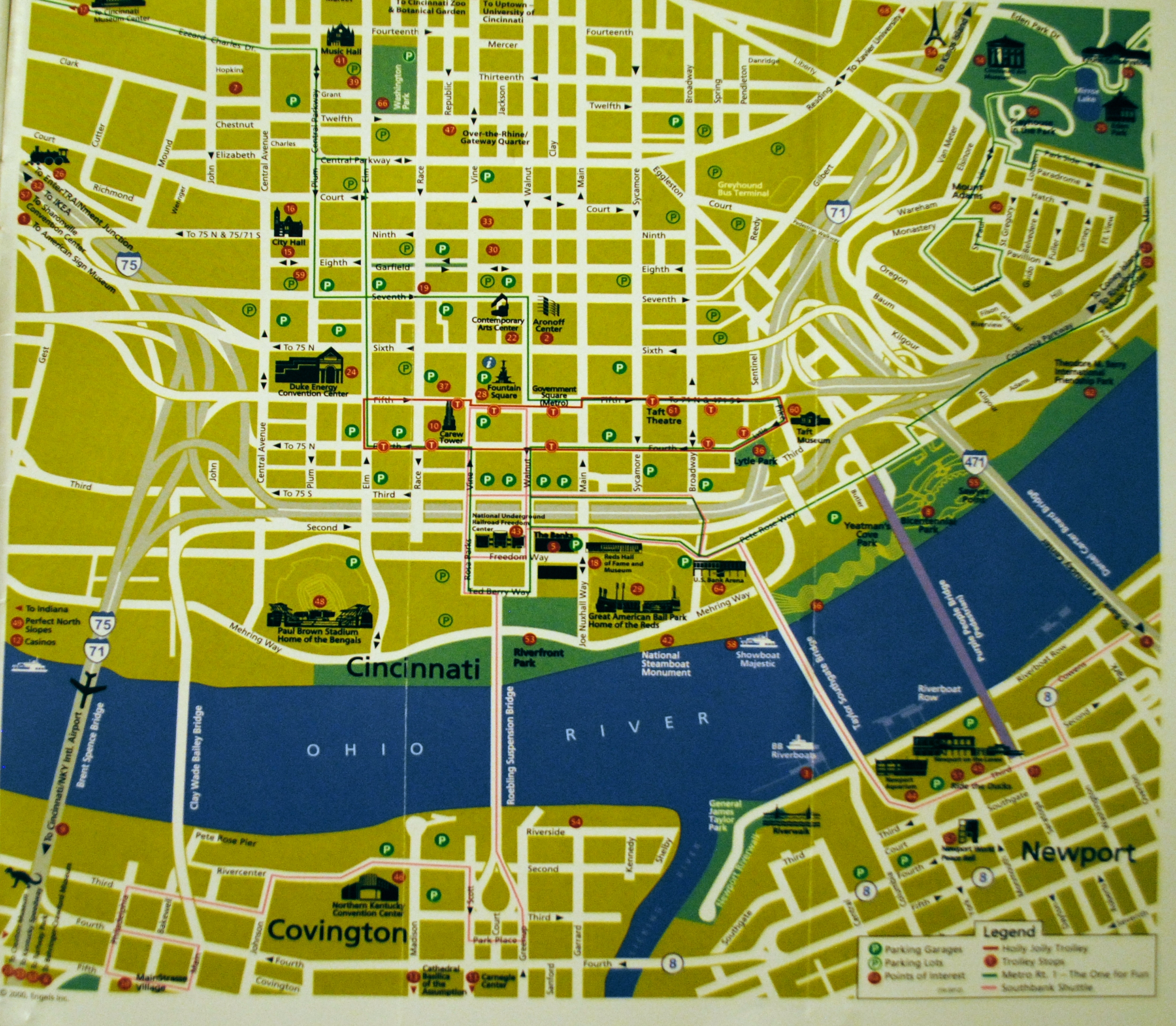 Map Of Downtown Cincinnati downtown guide map | Cincinnati Transit Blog