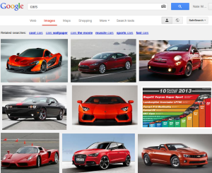 google search results page for cars