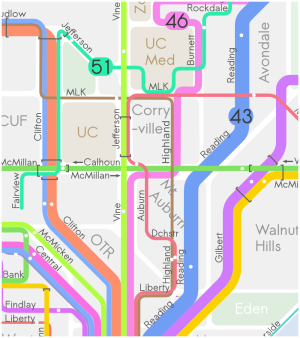 transit map of Uptown Cincinnati
