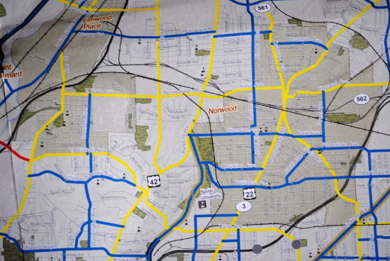 OKI bicycle map of the cincinnati area