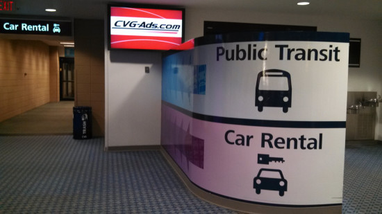 CVG transit to downtown sign