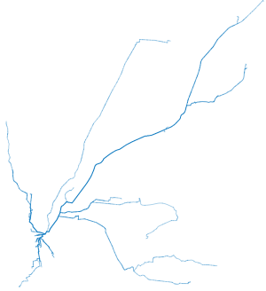 Map of shortest paths to coffee shops in Cincinnati ohio from a point downtown