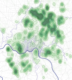 map of cul-de-sac density around cincinnati ohio