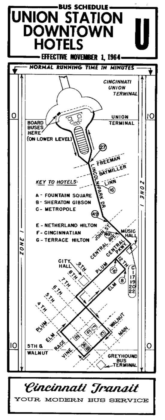 Cincinnati Route 1 in 1964