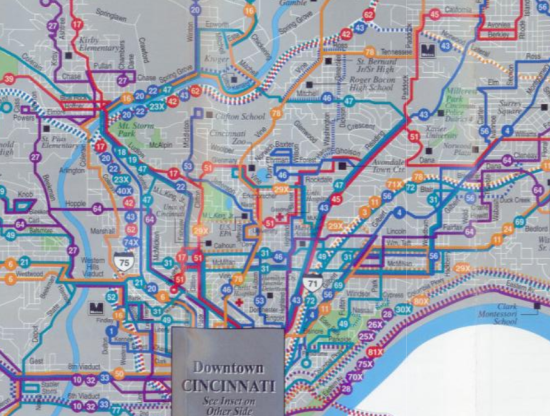 SORTA's 1999 transit system map of cincinnati